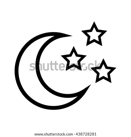 Moon stars icon outline illustration moon stock illustration star shape and moon design isolated figure of five points icon sciox Images