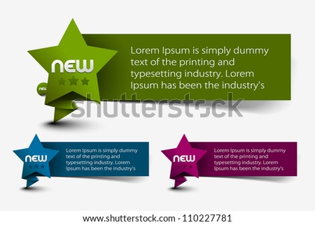 Star shape labels and stickers design. - stock vector