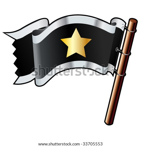 Star shape on black, silver, and gold vector flag good for use on websites, in print, or on promotional materials - stock vector