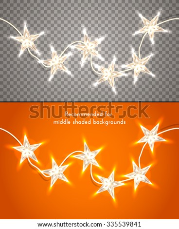Star-shaped christmas lights on transparent background. Design element for banners, flyers and so. Vector illustration, eps10. - stock vector