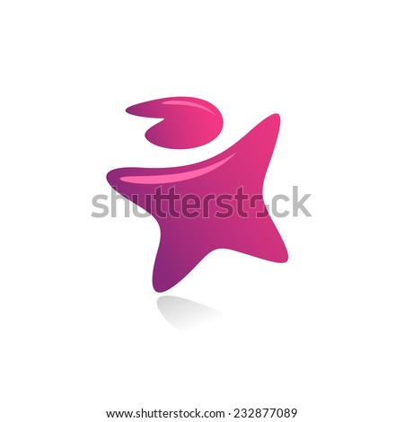 Star shaped man reaching up logo template. - stock vector