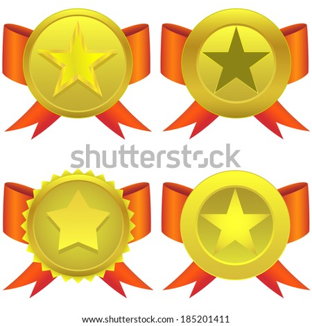 Star shaped medals on the white background. - stock vector