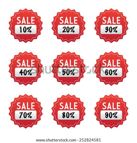 Star Shaped Sale Labels - stock vector