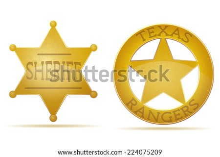 star sheriff and ranger vector illustration isolated on white background - stock vector
