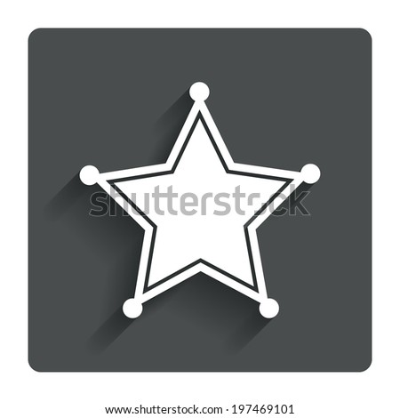 Star Sheriff sign icon. Police button. Sheriff symbol. Gray flat ...