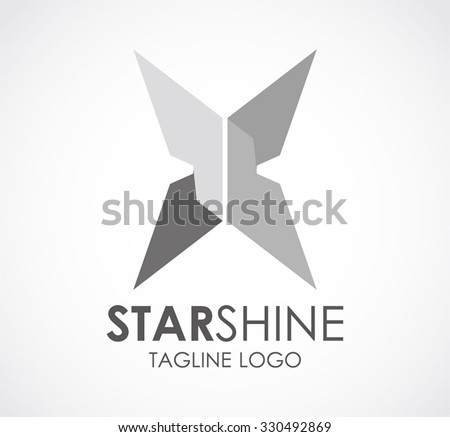 Star shine of metallic abstract vector and logo design or template silver steel business icon of company identity symbol concept - stock vector