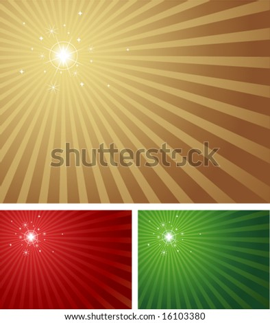 Star shining brightly with a radial background in 3 Christmas colours. Blue version with a centered star also available in portfolio. - stock vector