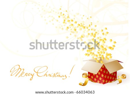 Star shining fancy gift. Opening magic box. Vector card template. - stock vector