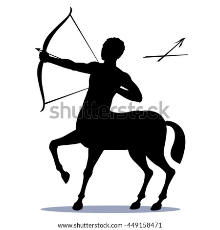 Star sign Sagittarius - the centaur, pulls a bow to shoot an arrow at a target. The symbol of the Zodiac horoscope constellation icon visible in the sky in December. Isolated, vector drawing. - stock vector