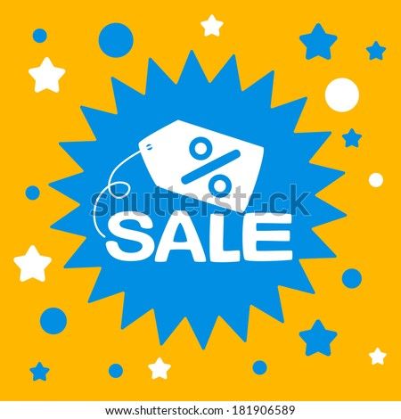star sign with a sale. advertising sale. - stock vector