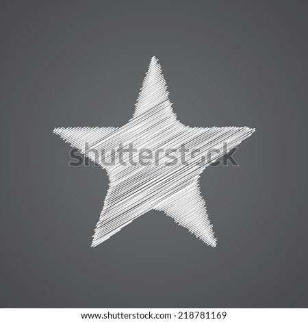 star sketch logo doodle icon isolated on dark background  - stock vector