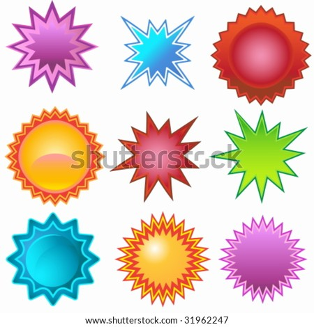 Star Sticker Set - stock vector