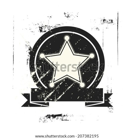 star symbol black and white grunge background, vector illustration