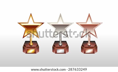 Star trophy illustration. Star cup. Gold, silver, bronze winner cup. Trophy icons. - stock vector