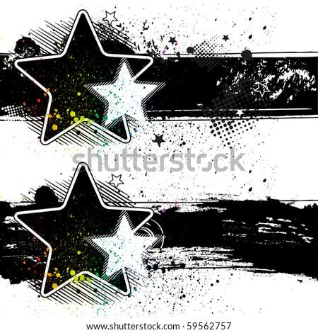 star vector grunge banners - stock vector