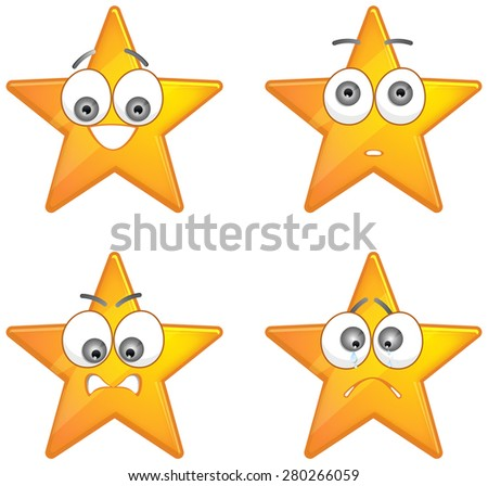 Star with emotions - Illustration - stock vector