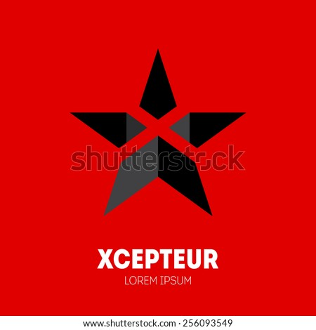 Star with letter X inside, Logo template. Vector design element or icon. - stock vector