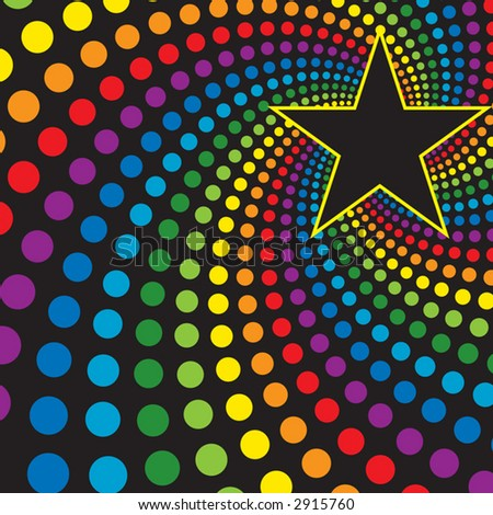 Star with Rainbow Swirl - stock vector