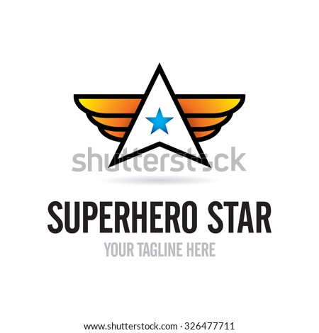 Star with wings logo - stock vector