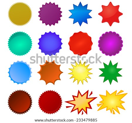 Starburst seals set, bursting stars, glass star shapes and promotional stickers. Colorful vector collection (eps10) you can simply change color and size - stock vector