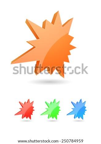starburst splash 3d icon colored - stock vector