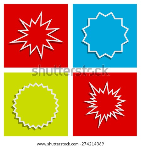 starburst splash star abstract background design set - stock vector