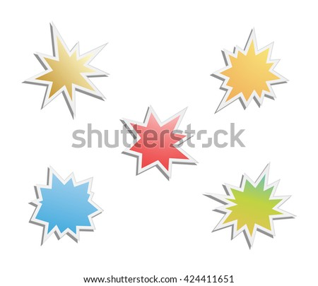 starburst - splash star icon set - stock vector
