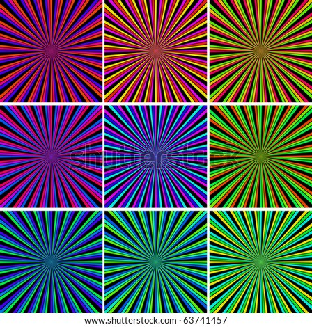 starbursts of various colors - stock vector