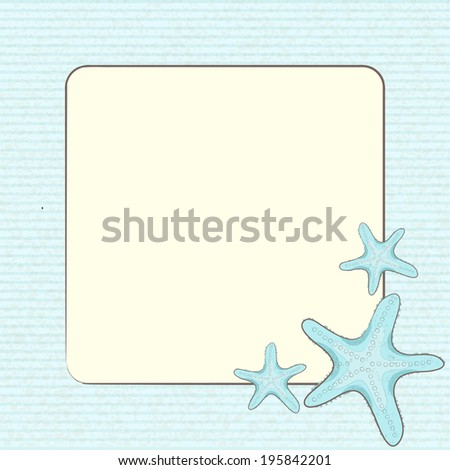starfish border on a textured blue background