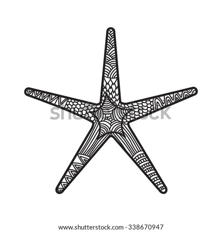 Starfish Coloring Book Page For Adults And Child