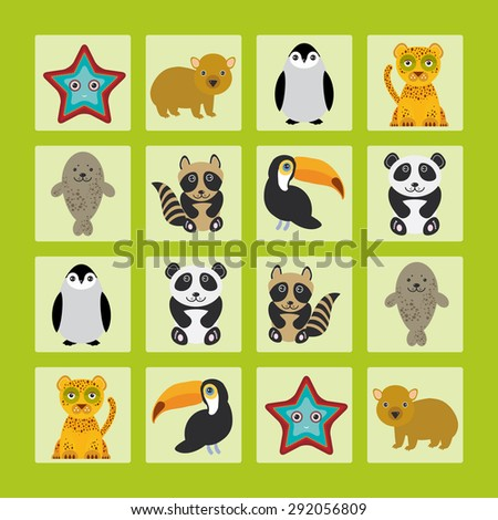 Starfish hamster Penguin leopard seal raccoon panda toucan Finding the Same Picture Educational game for Preschool Children. Vector illustration