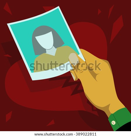 Staring at the photograph of former lover - stock vector