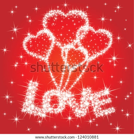 Starry background with twinkling heart balloon and love text - vector - stock vector