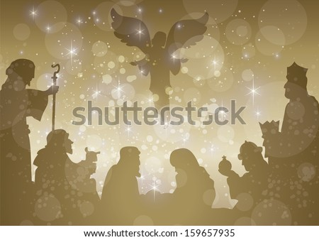 starry bethlehem complete - stock vector