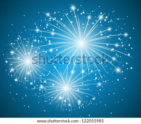 Starry blue fireworks - vector illustration - stock vector
