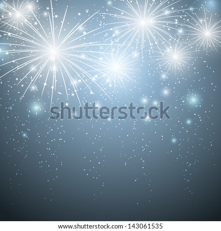Starry fireworks in blue sky - stock vector