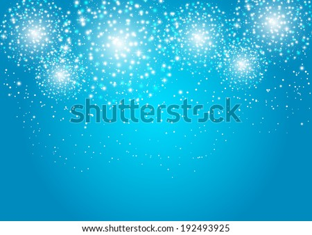 Starry fireworks on blue background - stock vector