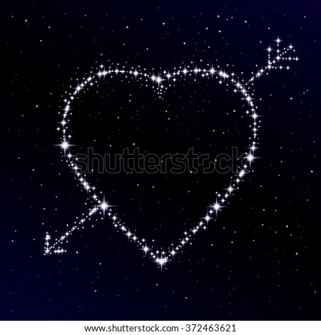 Starry heart as a constellation. Valentine's day abstract background. Vector illustration - stock vector