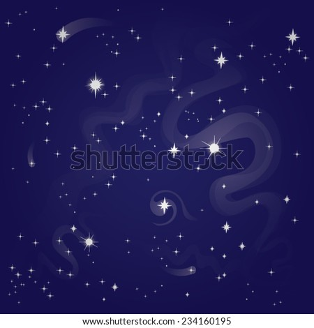 starry night sky, vector illustration - stock vector