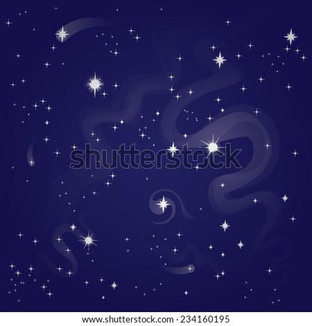 starry night sky, vector illustration - stock vector
