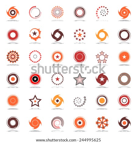 Stars and rotation. Design elements in warm colors. Abstract icons set. Vector art. - stock vector