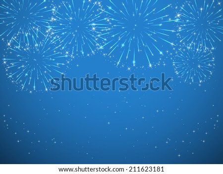 Stars and shiny fireworks on blue background, illustration. - stock vector