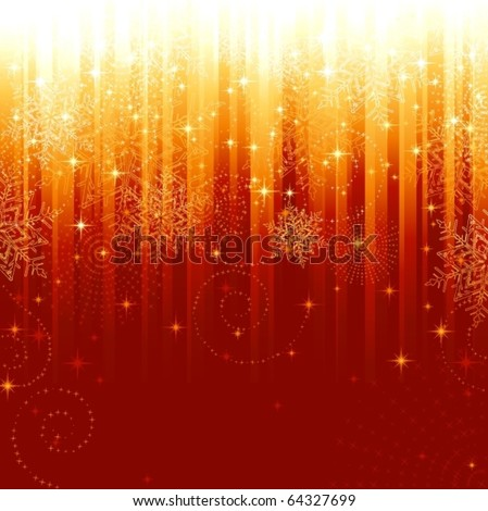 Stars and snowflakes on red golden striped background. Festive pattern great for festive or christmas themes. - stock vector