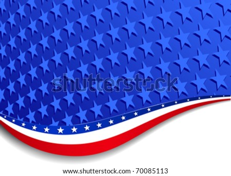 Stars and Stripes Background Landscape. More stars outside the mask, for you to mask as you like. All elements are grouped on individual layers in the vector file for easy use. - stock vector
