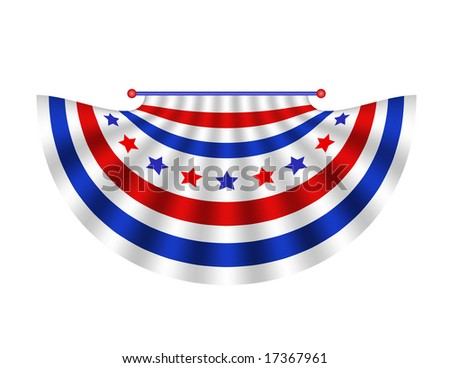 Stars and stripes bunting drape in red white and blue is patriotic or political decoration.