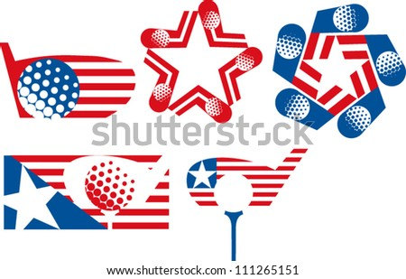 Stars and stripes golf logos - stock vector