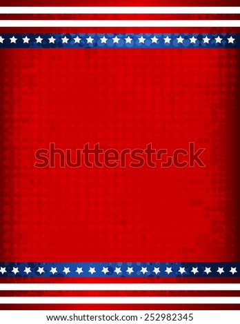 Stars and stripes grunge halftone USA 4th of july background / border - stock vector