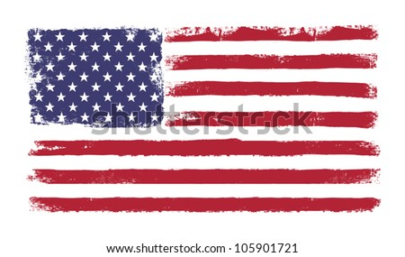 "Stars and stripes. Grunge version of American flag with 50 stars and ""old glory"" original colors. Vector, EPS 10. - stock vector"