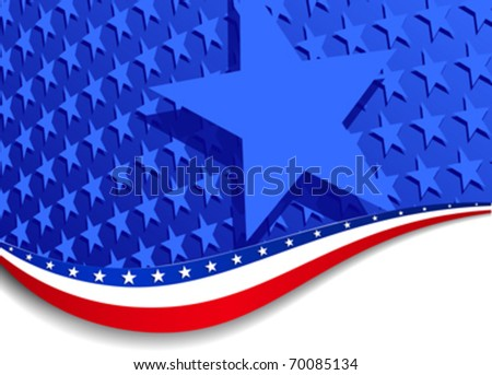 Stars and Stripes Landscape and star - Illustrator 10 with transparency. More stars are outside the mask, for you to mask as you like. Elements are on individual layers in the vector file for easy use - stock vector