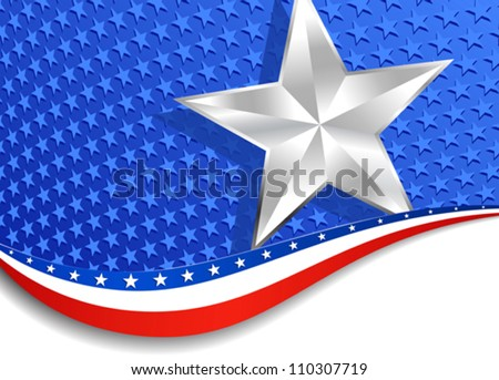 Stars and Stripes Silver Star background - stock vector